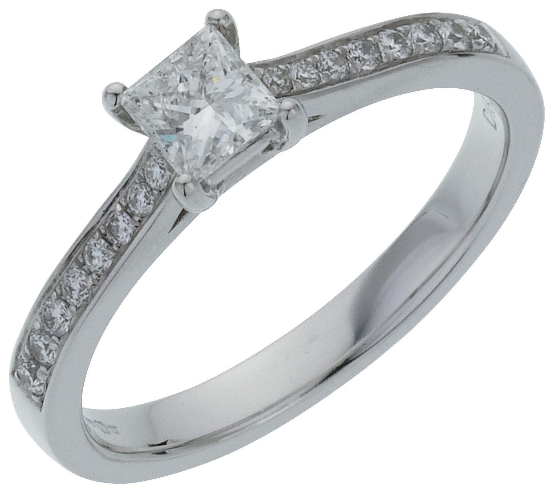 18 Carat White Gold 05 Carat Diamond - Princess Cut Shoulder Ring- S