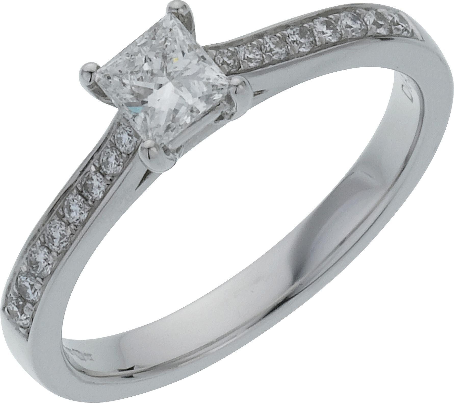 18 Carat White Gold 05 Carat Diamond - Princess Cut Shoulder Ring- K