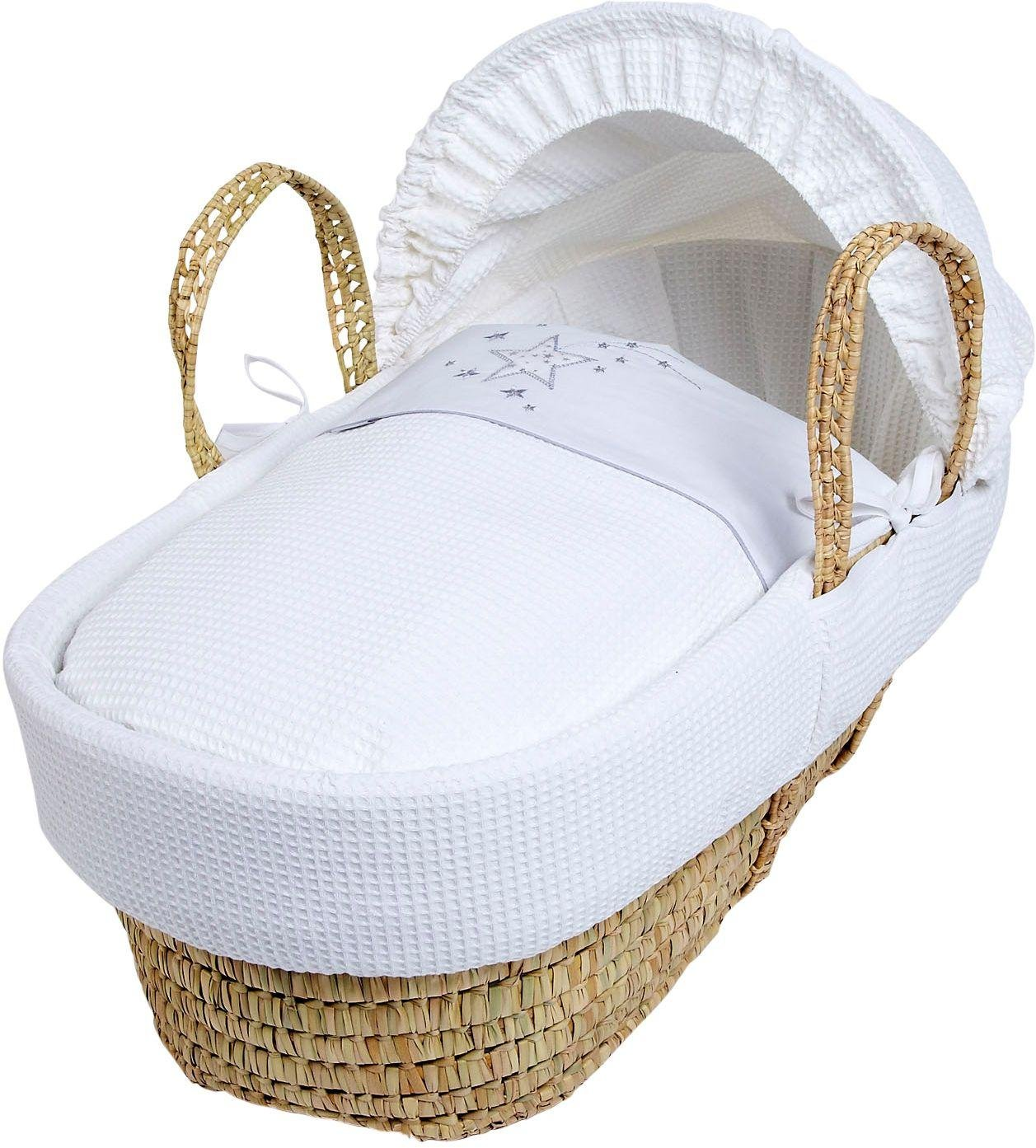 Handmade Wicker Moses Basket : Clair de lune stardust white wicker moses octer ?