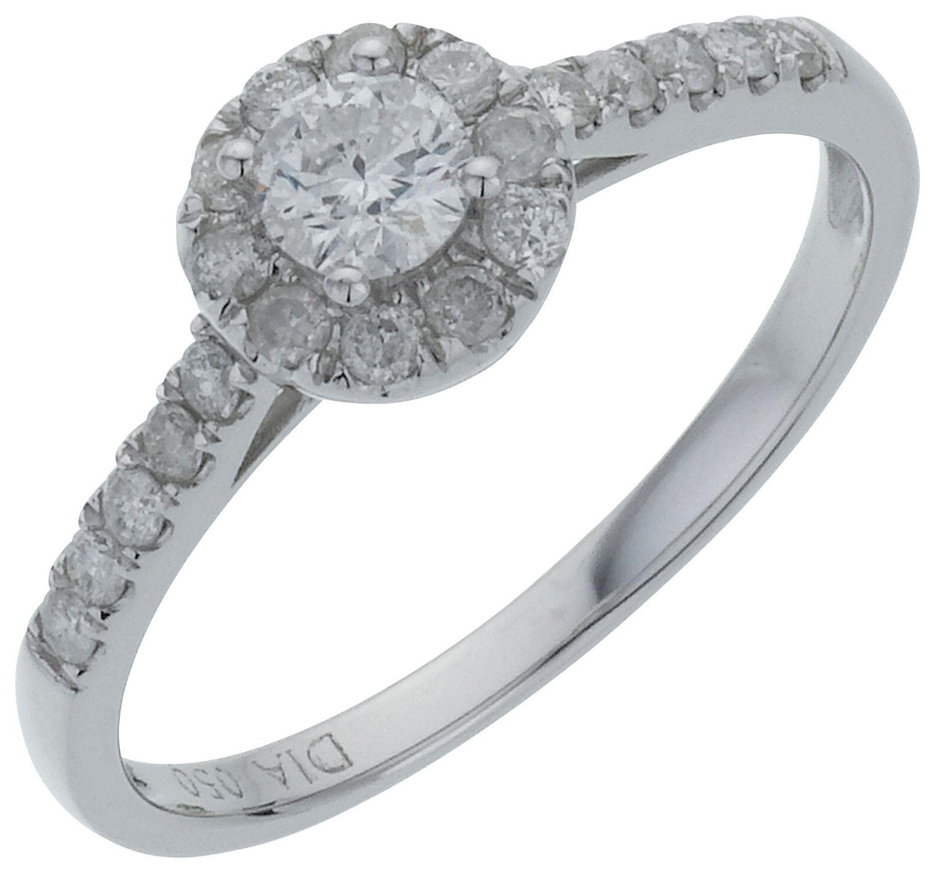 Image of 18 Carat White Gold Round Diamond - Halo Ring - Size Q