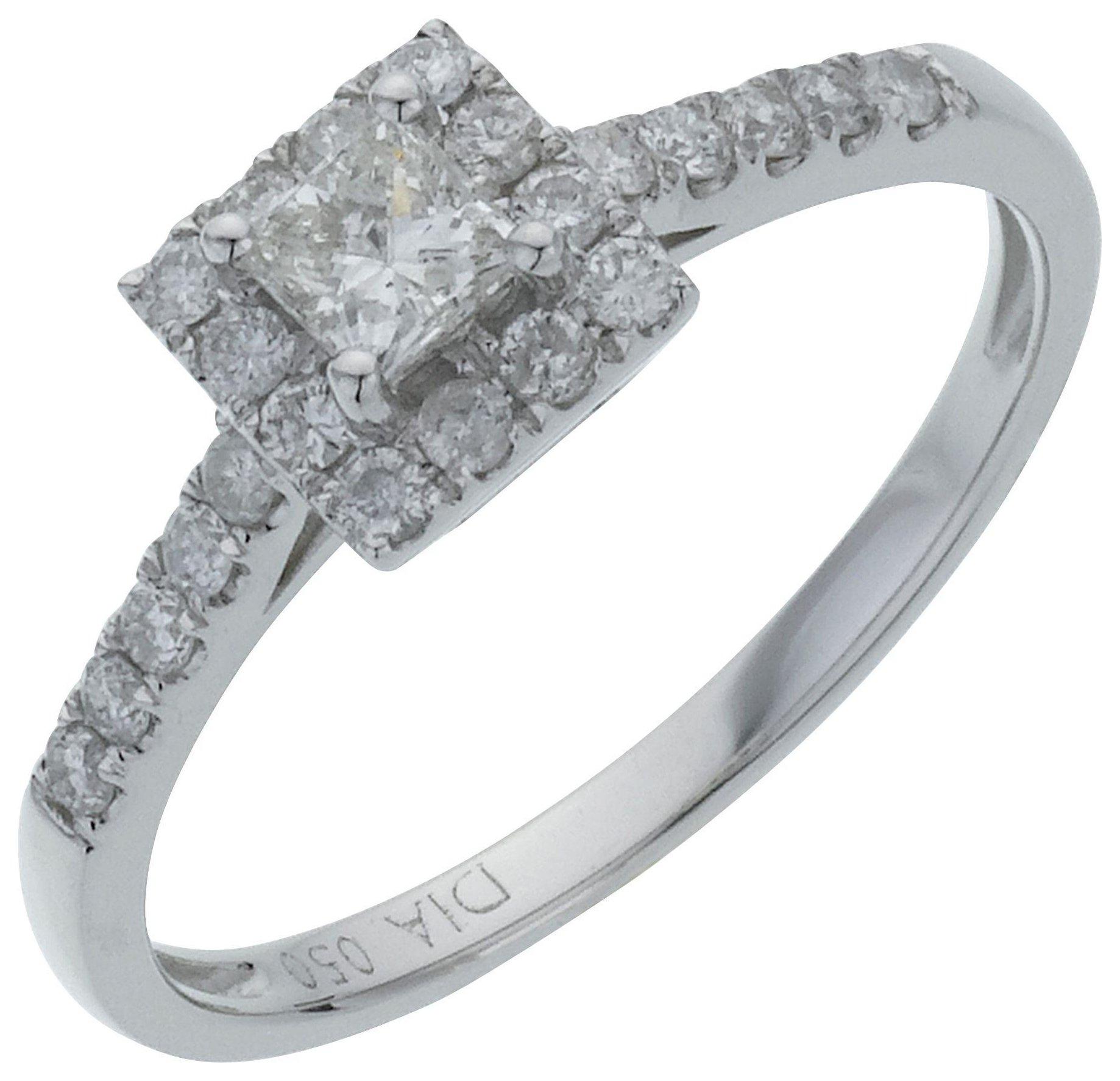 18 Carat White Gold Square Diamond - Halo Ring - Size W