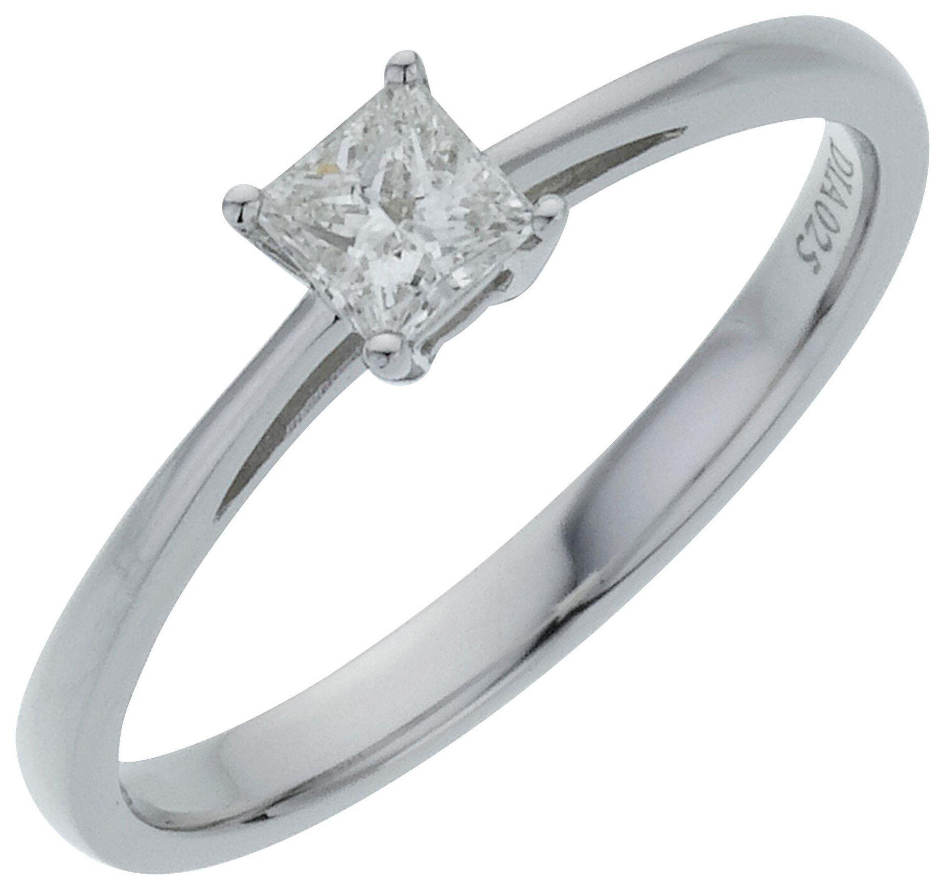18 Carat White Gold 025 Carat Diamond - Princess Cut Diamond - Ring - T