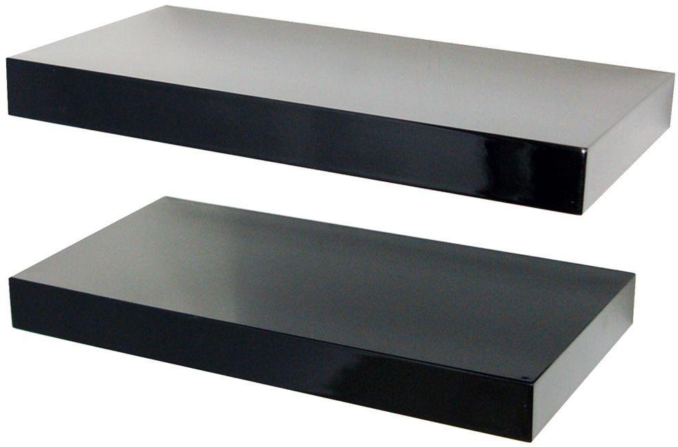 40cm set of 2 floating shelves black gloss