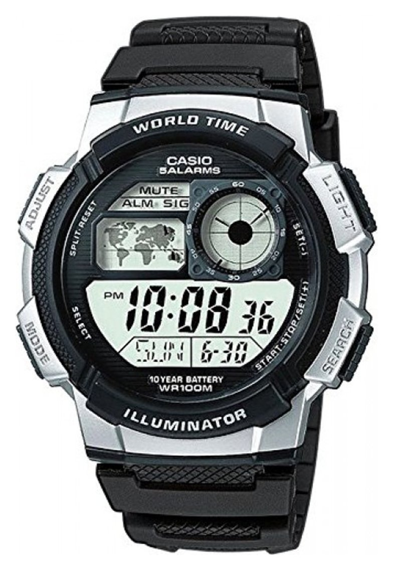 Casio Men's World Time LCD Black Resin Strap Watch