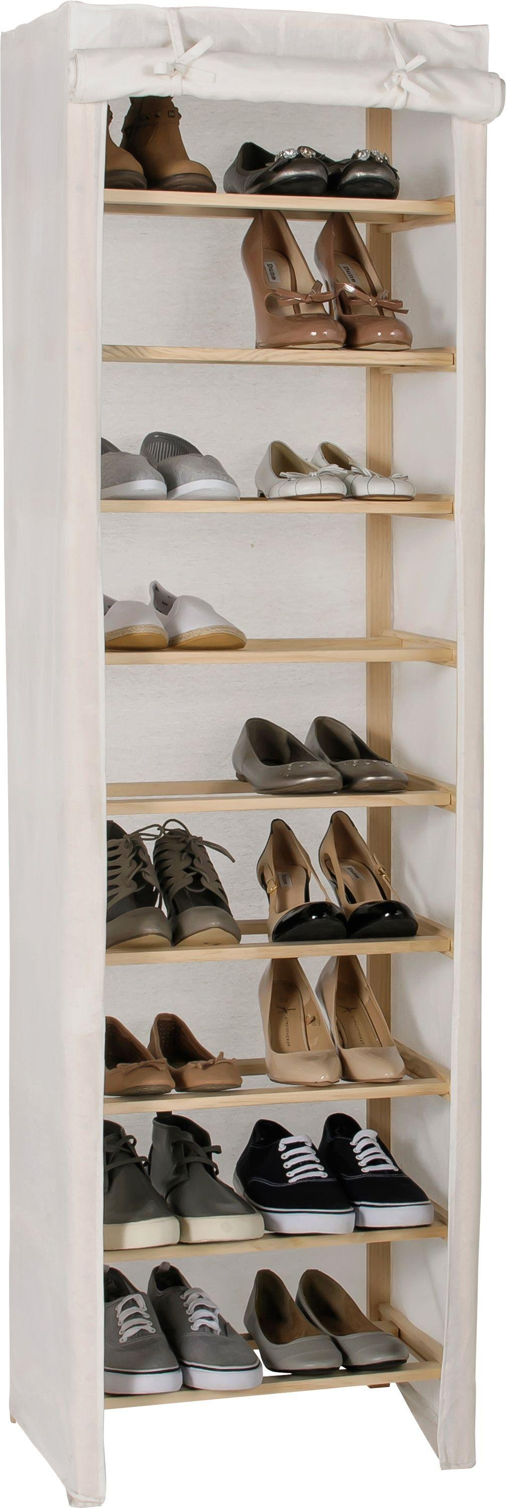 Argos Home Canvas and Pine 9 Shelf Shoe Storage Rack - Cream