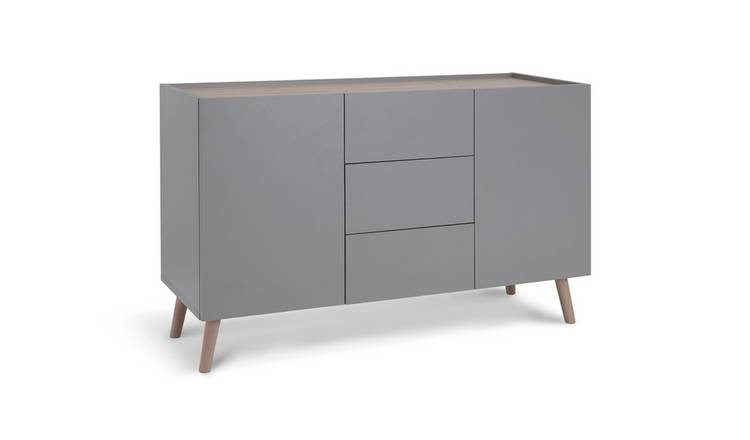 Habitat Skandi 2 Door 3 Drawer Sideboard - Grey Two Tone
