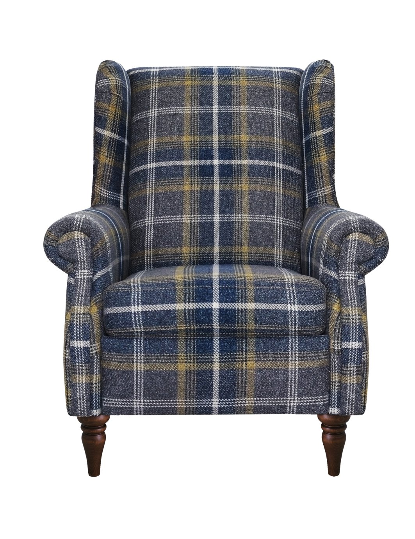 Argos Home Argyll Fabric High Back Chair - Blue & Yellow