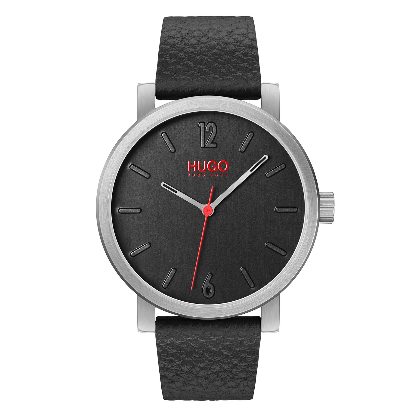 HUGO Men's Race Black Leather Strap Watch