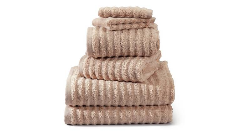 Argos Home Ribbed 6 Piece Towel Bale - Stone