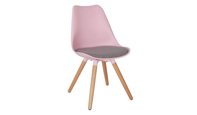 Argos Home Charlie Fabric Dining Chair - Pink & Grey