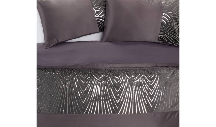Argos Home Slate Sequin Bedding Set - Double