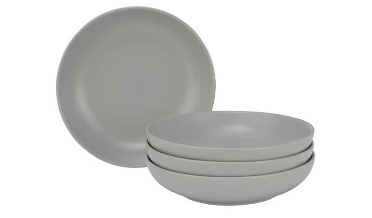 Argos Home Brights Set of 4 Pasta Bowls - Matt Grey