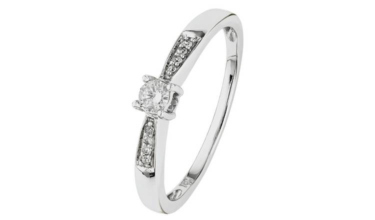 Revere 18ct White Gold 0.10ct Diamond Solitaire Ring  - P