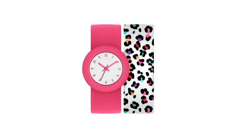 Tikkers Childrens Pink Snap Band Strap Watch
