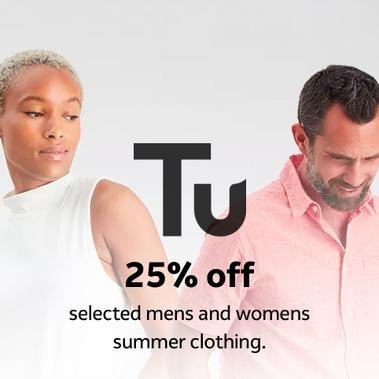 25% off selected mens and womens summer clothing.