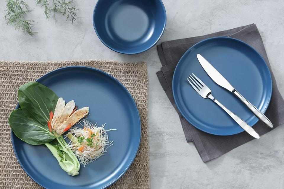 Argos Home Brights 12 Piece Dinner Set - Matt Navy.