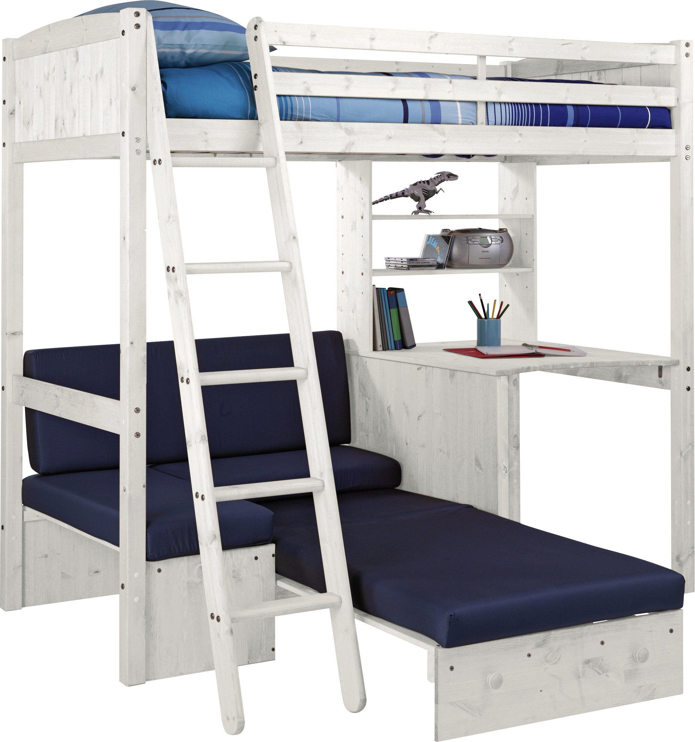 Classic High Sleeper with Sofa Bed & Ashley Mattress - White & Blue
