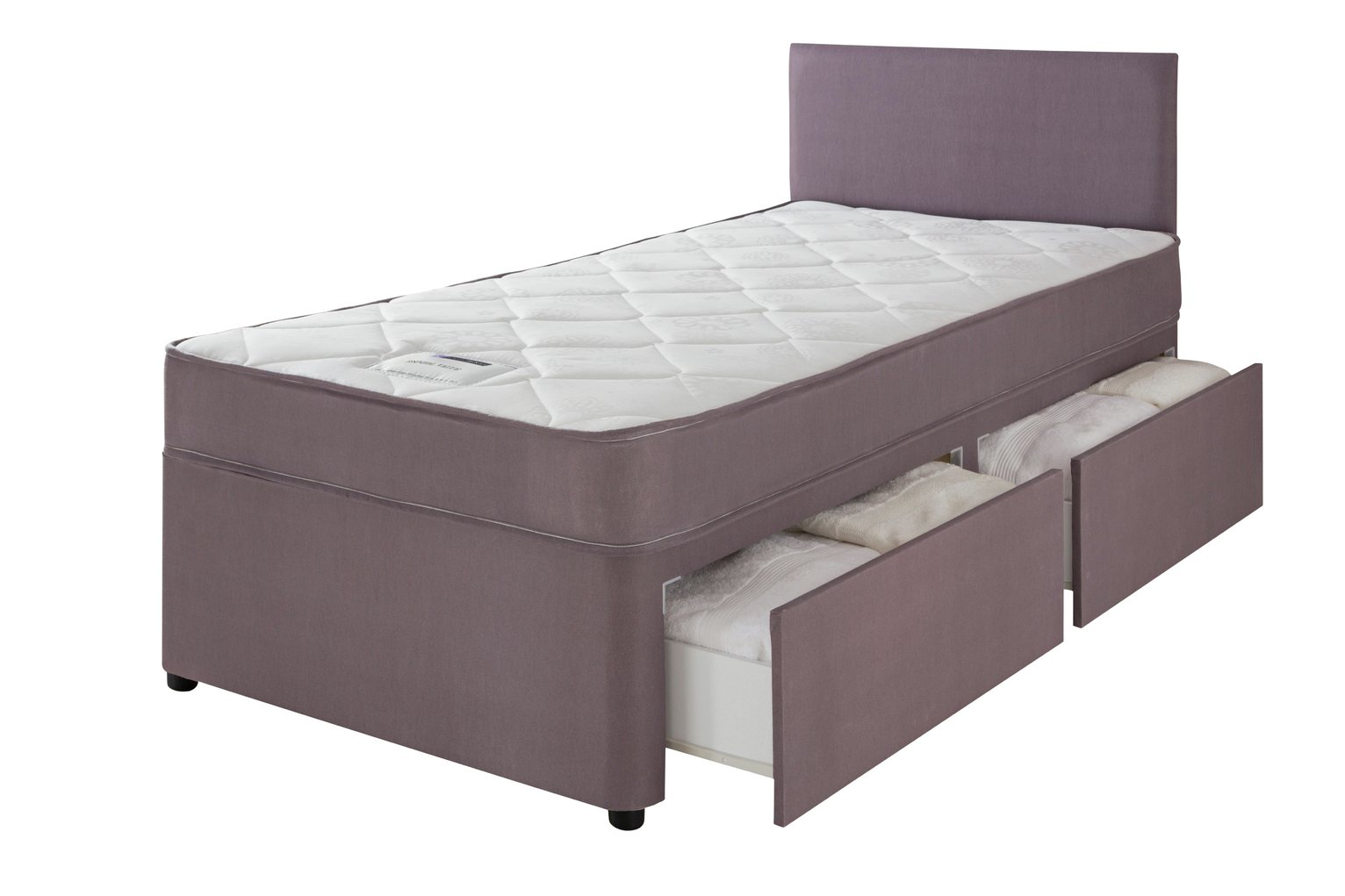 Forty winks newington essential single 2 drw divan bed for Cheap single divan with drawers