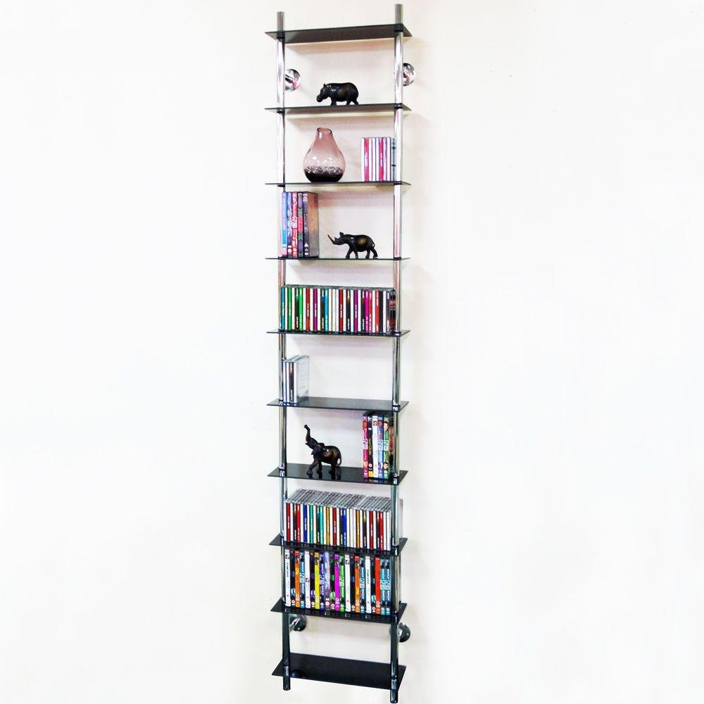 10 Tier Display Shelving Unit - Black Glass.