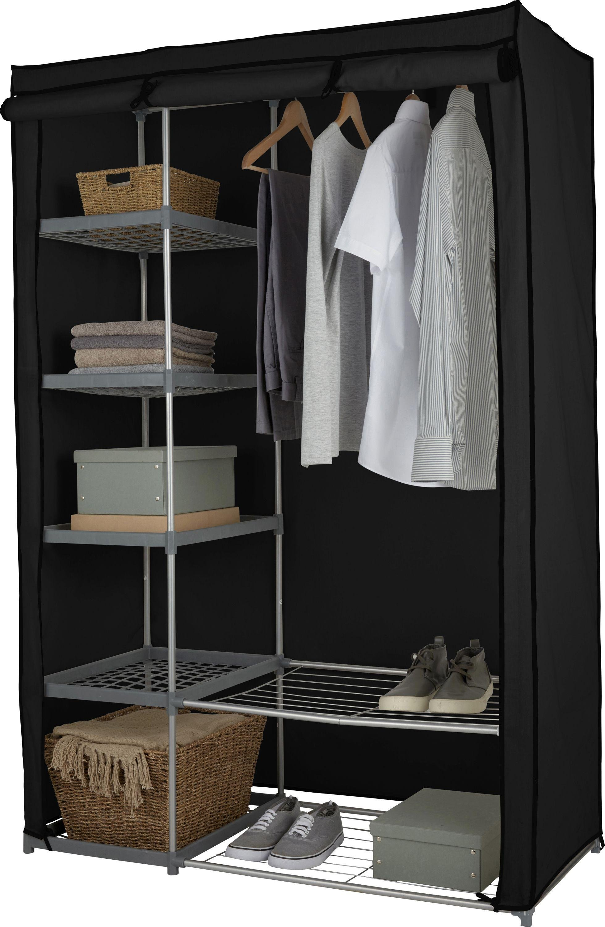 home metal and polycotton double wardrobe  black.