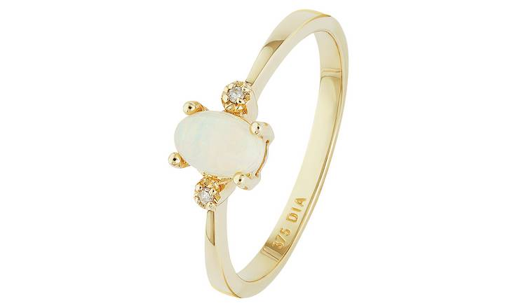 Revere 9ct Gold Opal and Diamond Accent Oval Ring - L