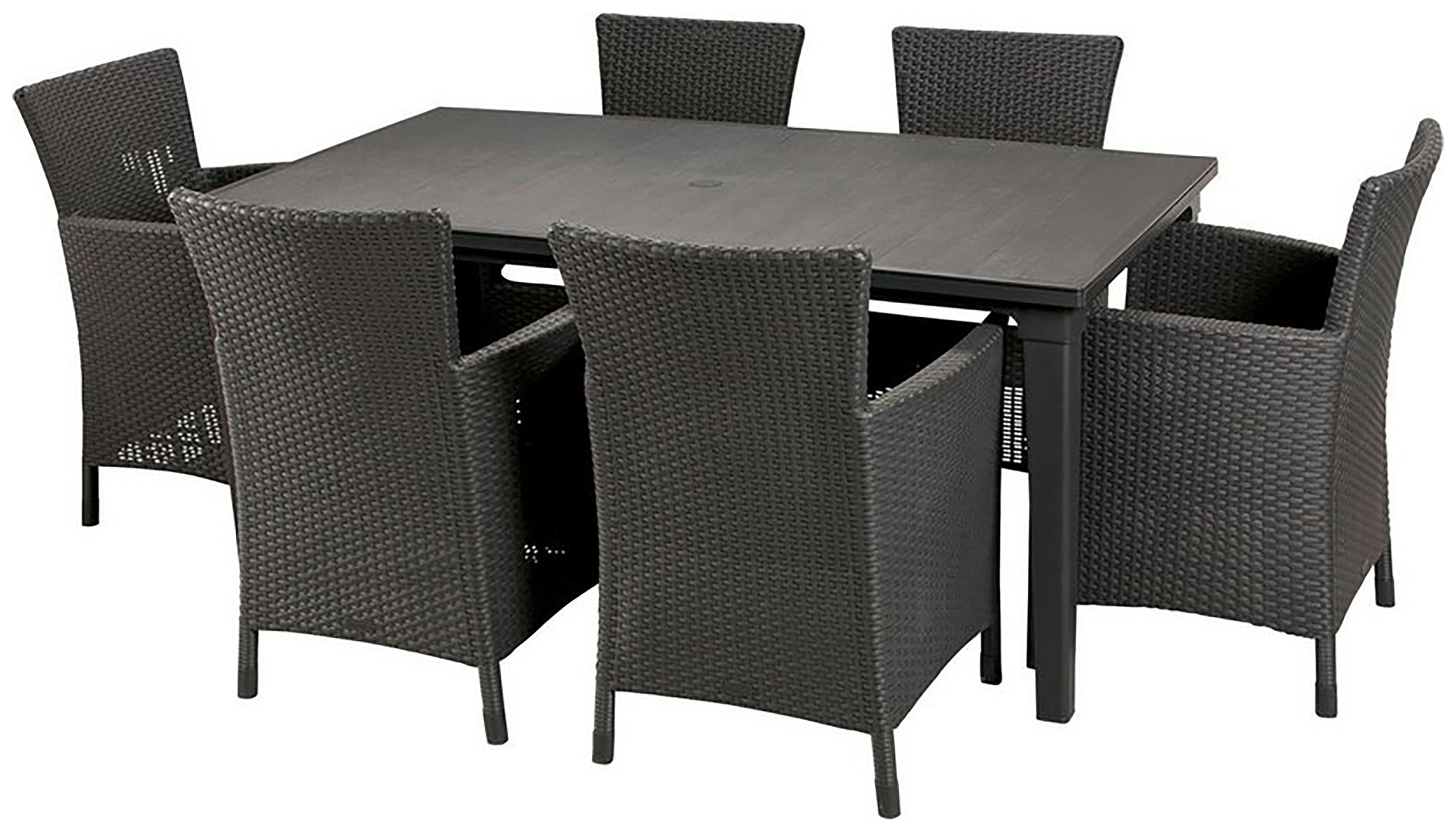 Garden Furniture 6 Seater buy keter iowa rattan 6 seater garden dining set - graphite at
