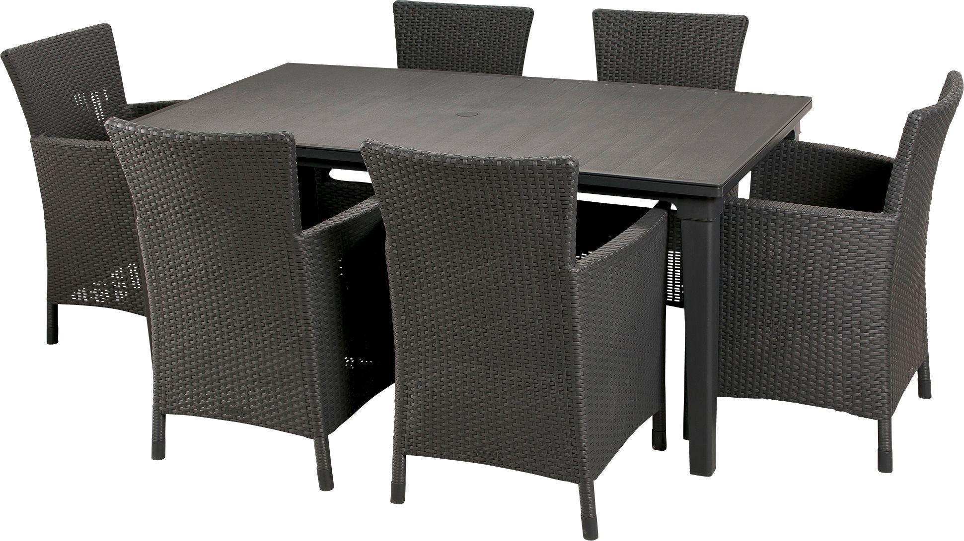 Keter Iowa Rattan 6 Seater Garden Dining Set. Garden Furniture   Go Argos