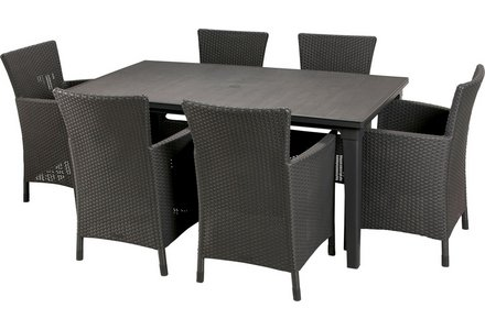 Image of the Keter Iowa Rattan Effect 6 Str Dining Set - Graphite.