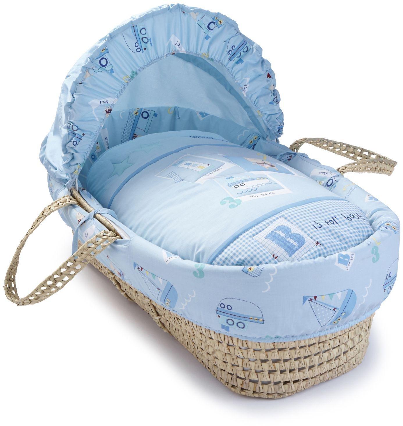 Image of Clair de Lune Ahoy Palm Moses Basket.