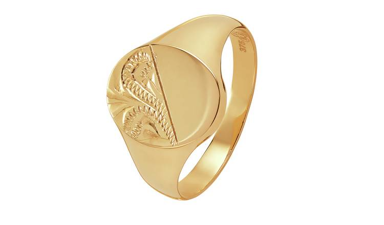 Revere 9ct Gold Oval Half Engraved Signet Ring - L
