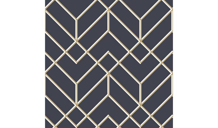 Buy Superfresco Easy Filaires Navy Gold Geometric Wallpaper Wallpaper Argos