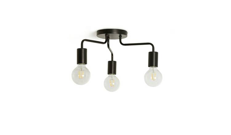Argos Home Rayner 3 Arm Flush to Ceiling Light - Black