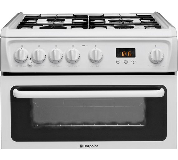 buy hotpoint hag60p freestanding double gas cooker white. Black Bedroom Furniture Sets. Home Design Ideas