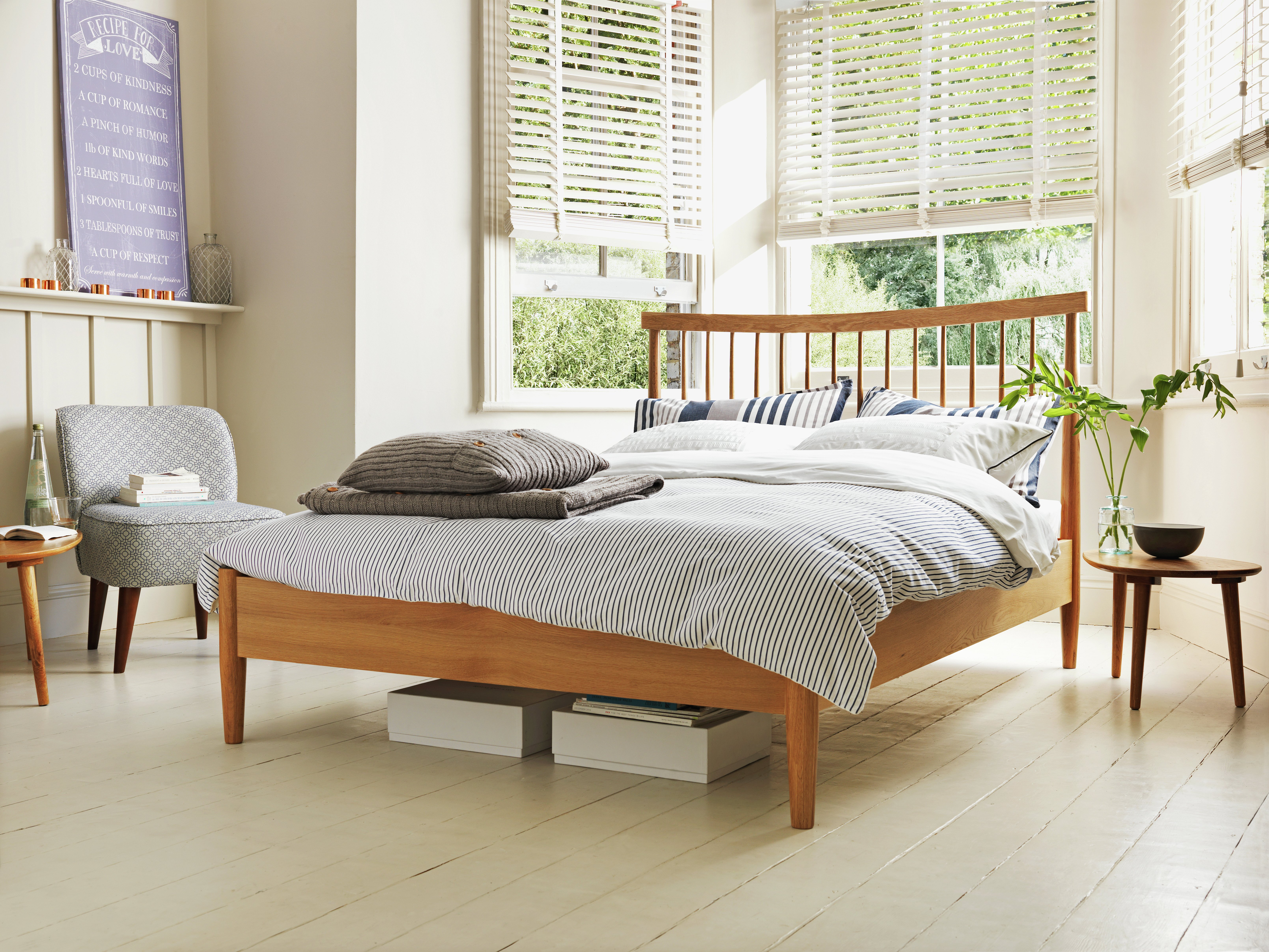 buy heart of house dorset double spindle bed frame - oak at argos