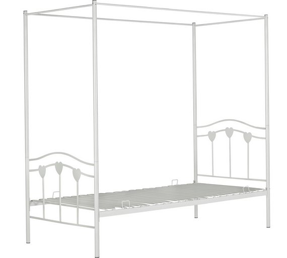 home hearts single 4 poster bed frame white3256411 - 4 Post Bed Frame