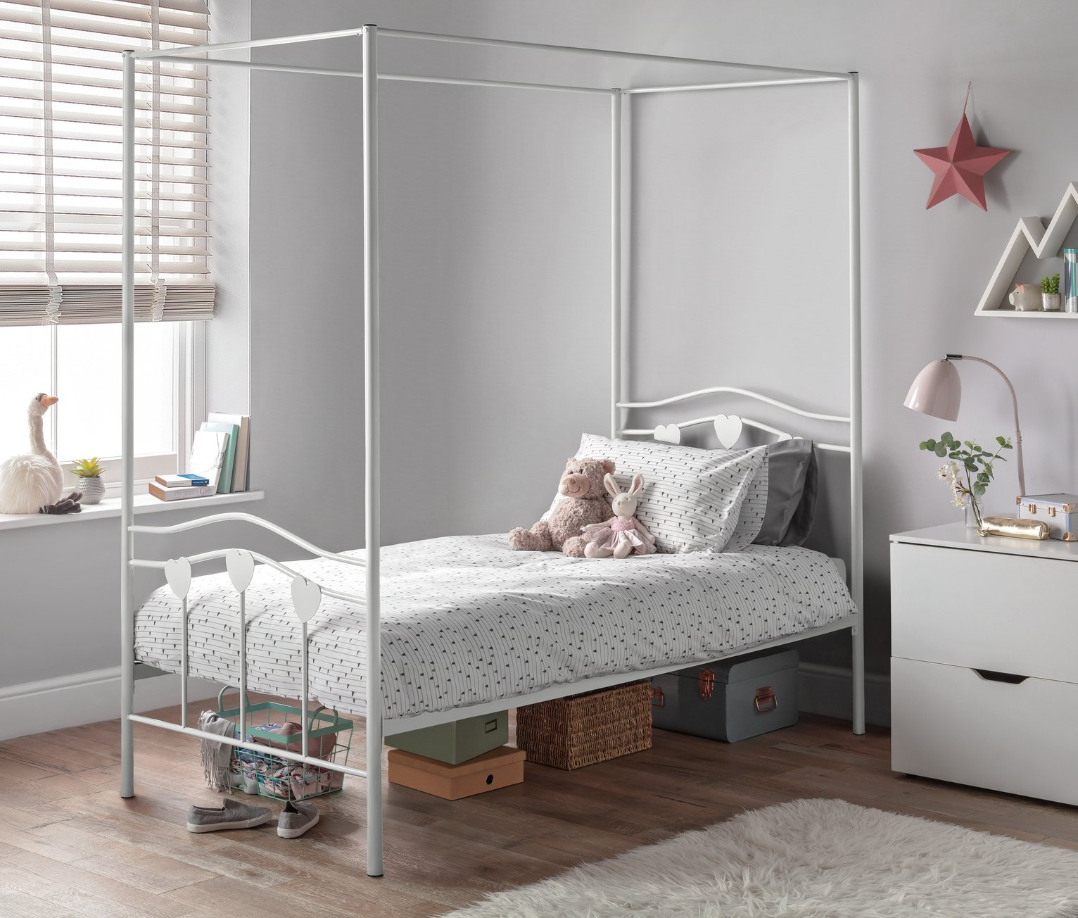 Argos Home Hearts Single 4 Poster Metal Bed Frame - White