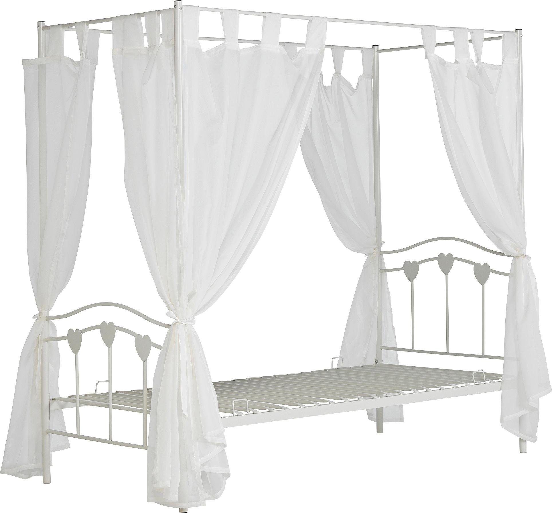 Buy HOME Hearts Single Four Poster Bed Frame White at Argosco