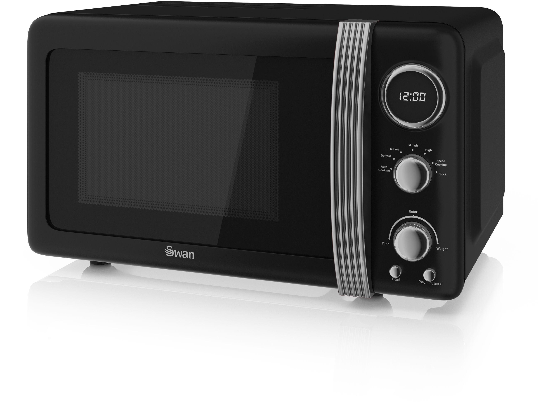 Swan 800W Standard Microwave SM22030BN - Black