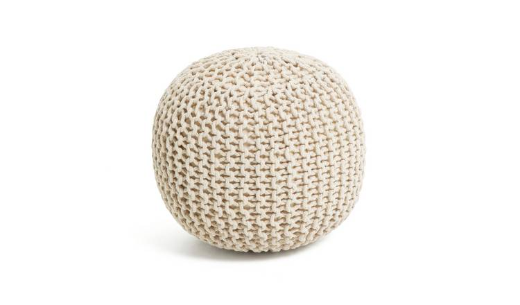 Habitat Cotton Knitted Pod Footstool - Natural