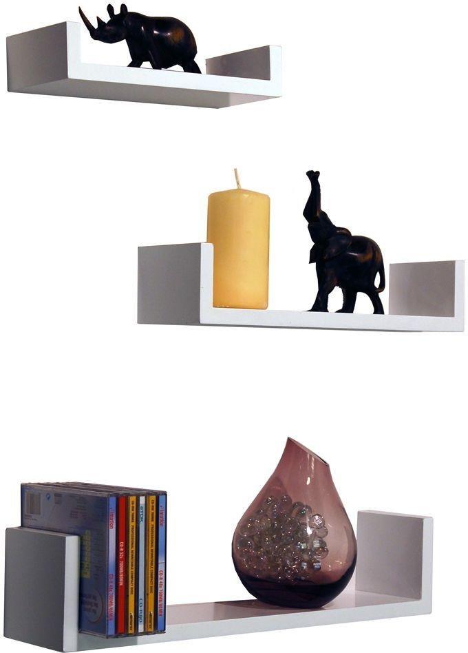 Image of 46cm Set of 3 Display Shelves - White