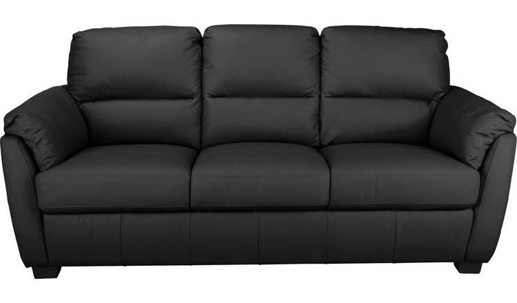 Buy Argos Home Trieste 3 Seater Leather Sofa - Black | Sofas | Argos