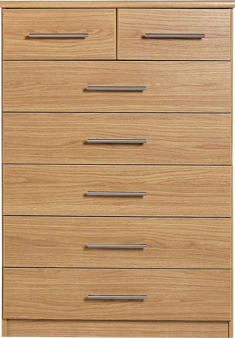Argos Home Normandy 5+2 Drawer Chest - Oak Effect