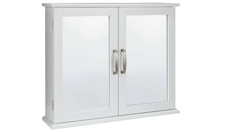 Argos Home Tongue & Groove Mirrored Cabinet - White