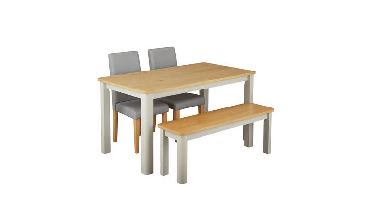 Argos Home Bournemouth Wood Table, 2 Grey Chairs & Bench