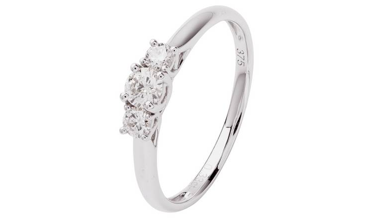 Revere 9ct White Gold 0.33ct tw Diamond Trilogy Ring - S