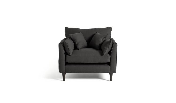 Argos Home Hector Linen Effect Cuddle Chair - Charcoal