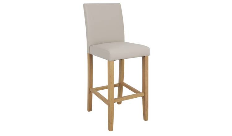 Argos Home Winslow Faux Leather Tall Bar Stool - Cream