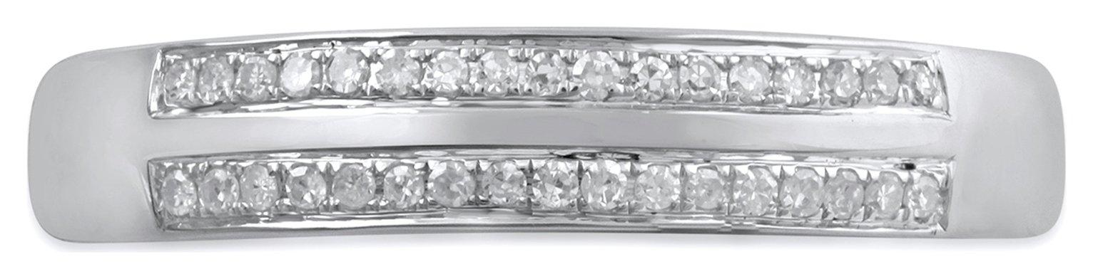 Revere 9ct White Gold 0.10ct Diamond Engagement Band Ring N