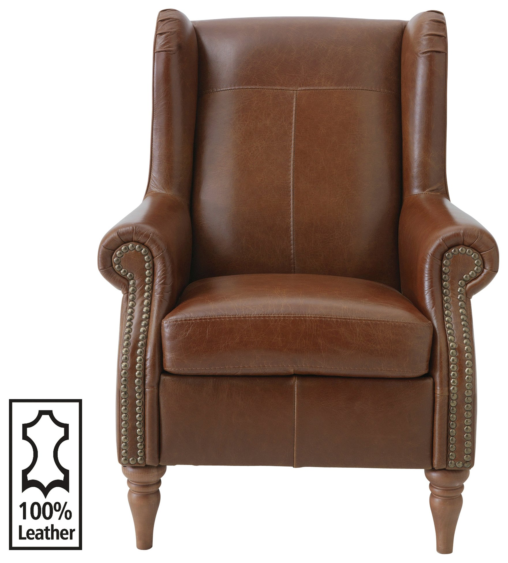 Argos Home Argyll Studded Leather High Back Chair - Tan