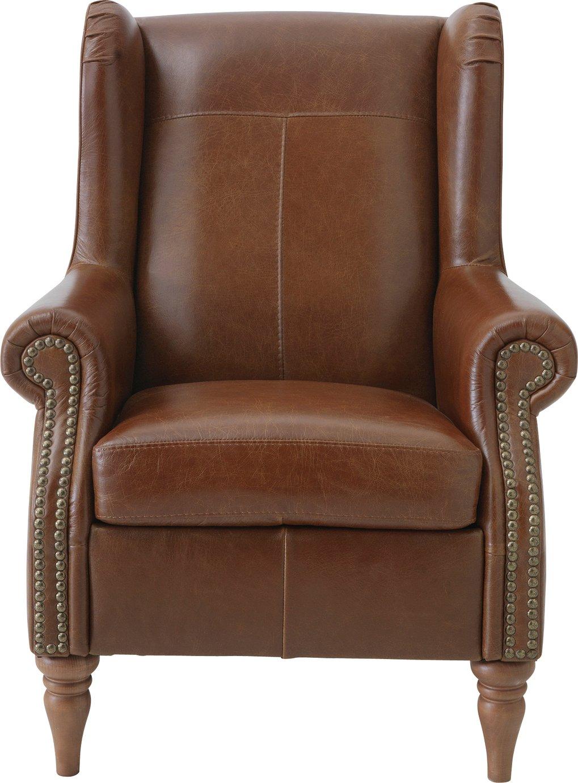 Argos Home Argyll Studded Leather High Back Chair - Tan